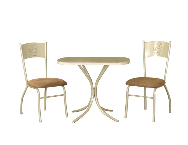 Sunset Trading Light Cappuccino Microsuede Steel 3pc Dinette Set SST-CR-D8466-70