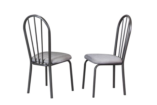 2 Sunset Trading Grey Microfiber Steel Dining Chairs SST-CR-D8719-03-2