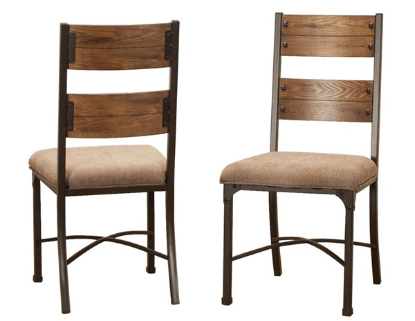 2 Sunset Trading Rustic Elm Industrial Taupe Black Brown Side Chairs SST-CR-W3075-01-2