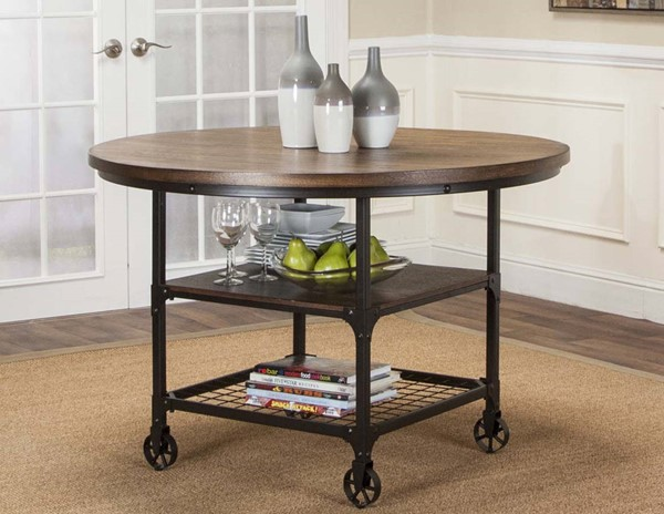 Sunset Trading Rustic Elm Industrial Black Brown Dining Table SST-CR-W3075-66