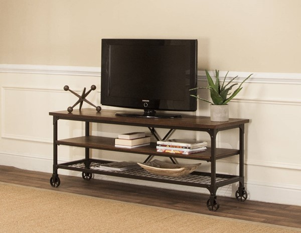 Sunset Trading Rustic Elm Industrial Black Brown TV Stand SST-CR-W3075-73