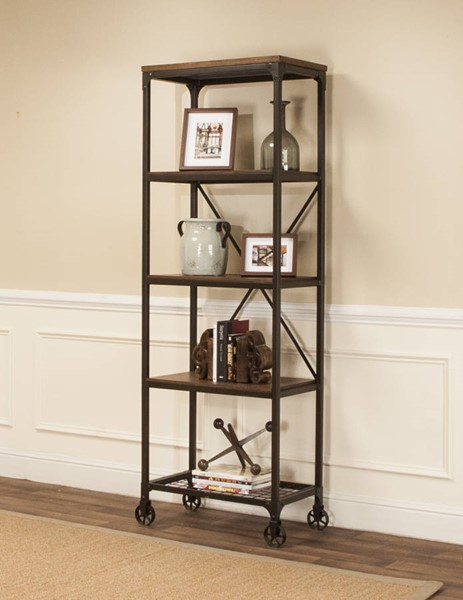 Sunset Trading Rustic Elm Industrial Black Brown 4 Shelf Bookcase SST-CR-W3075-87