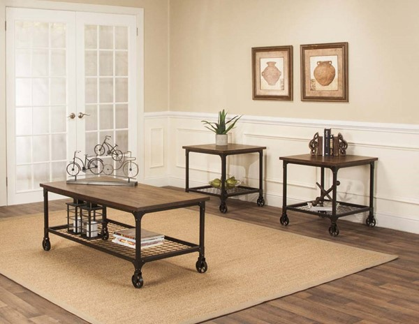 Sunset Trading Rustic Elm Industrial Black Brown 3pc Coffee Table Set SST-CR-W3075-90