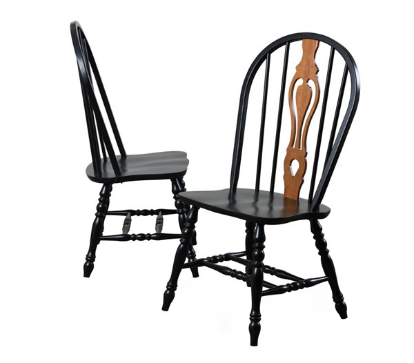 Sunset Trading Antique Black Keyhole Dining Chairs SST-DLU-124-S-DCH-VAR
