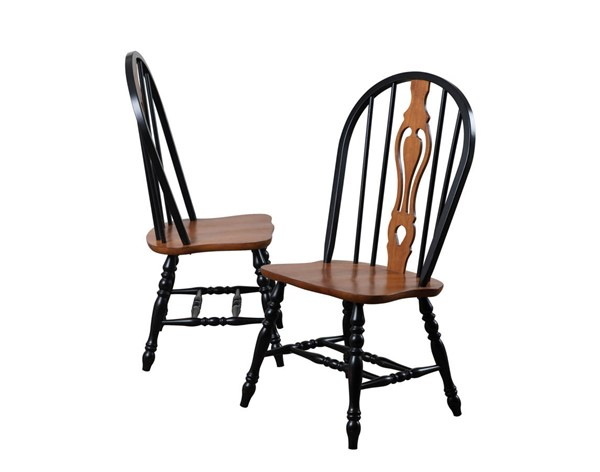 2 Sunset Trading Antique Black Cherry Keyhole Dining Chairs SST-DLU-124-S-BCH-2