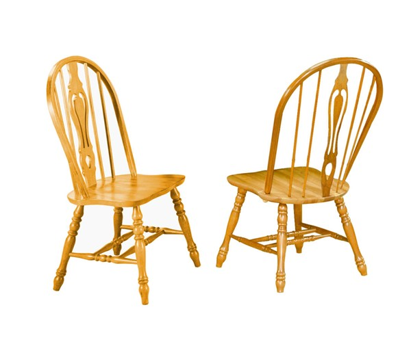 2 Sunset Trading Selections Light Oak Keyhole Dining Chairs SST-DLU-124-S-LO-2