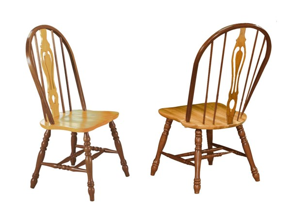 2 Sunset Trading Selections Walnut Light Oak Keyhole Dining Chairs SST-DLU-124-S-NLO-2