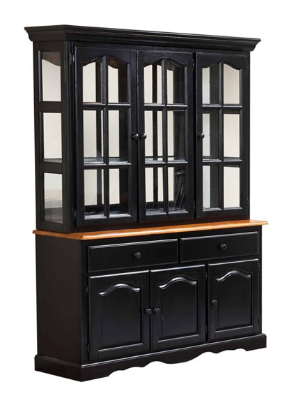 Sunset Trading Antique Black Cherry Treasure Buffet and Lighted Hutch SST-DLU-22-BH-BCH