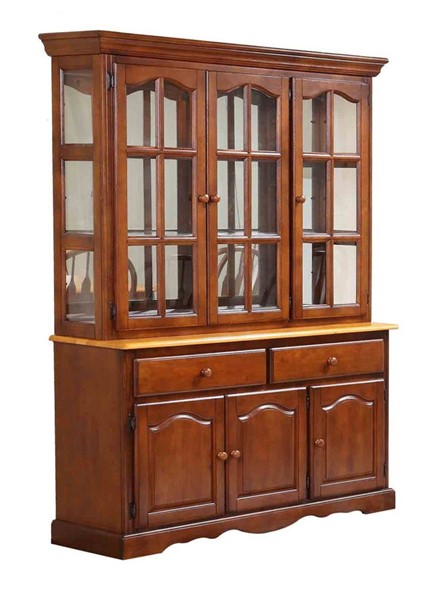 Sunset Trading Selections Nutmeg Brown Light Oak Treasure Buffet and Lighted Hutch SST-DLU-22-BH-NLO