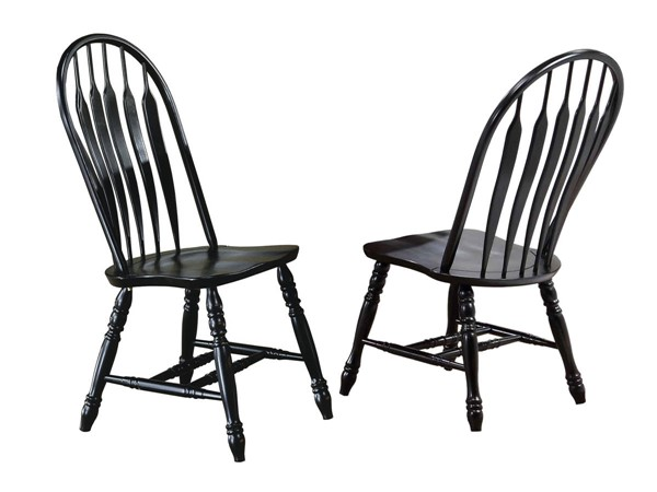 2 Sunset Trading Antique Black Cherry Comfort Back Dining Chairs SST-DLU-4130-AB-2