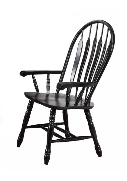 Sunset Trading Antique Black Cherry Comfort Dining Arm Chair SST-DLU-4130-AB-A