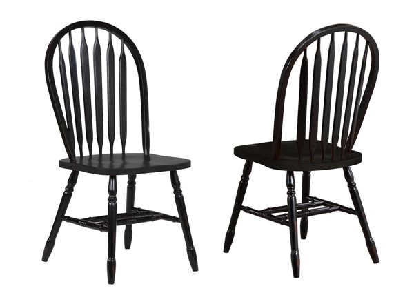 2 Sunset Trading Antique Black Arrowback Dining Chairs SST-DLU-820-AB-2