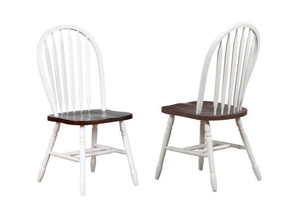 Sunset Trading Andrews Antique White Chestnut Arrowback Dining Chairs SST-DLU-820-DCH-VAR