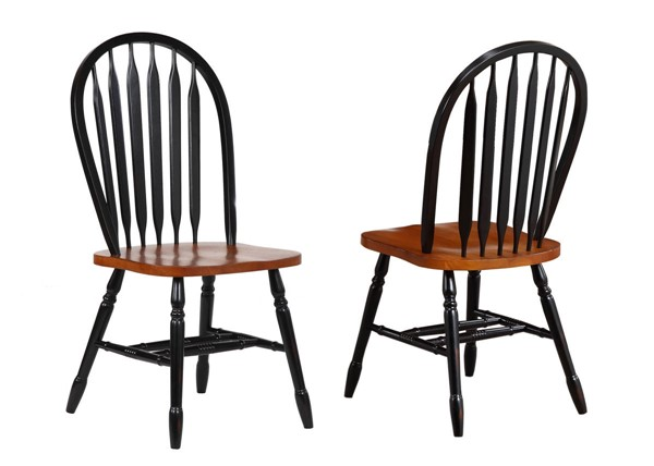 2 Sunset Trading Antique Black Cherry Arrowback Dining Chairs SST-DLU-820-BCH-2