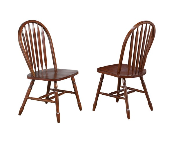 2 Sunset Trading Andrews Chestnut Arrowback Dining Chairs SST-DLU-820-CT-2