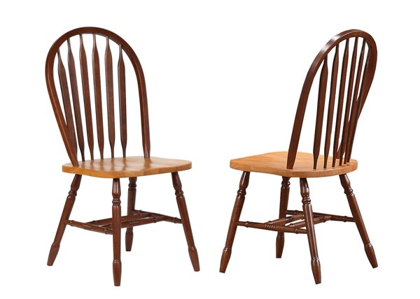 2 Sunset Trading Selections Nutmeg Brown Light Oak Arrowback Dining Chairs SST-DLU-820-NLO-2