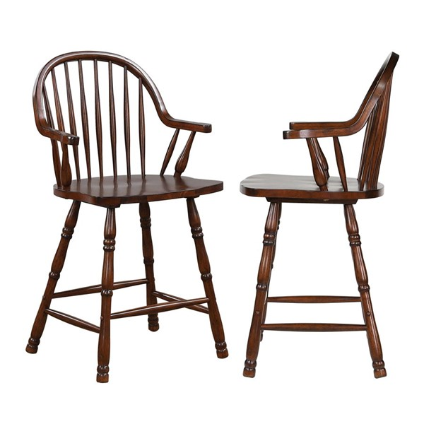 2 Sunset Trading Andrews Distressed Chestnut Brown 24 Inch Counter Height Stools SST-DLU-ADW-B3024A-CT-2