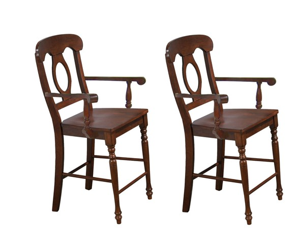 2 Sunset Trading Andrews Chestnut Napoleon Barstools with Arms SST-DLU-ADW-B50A-CT-2