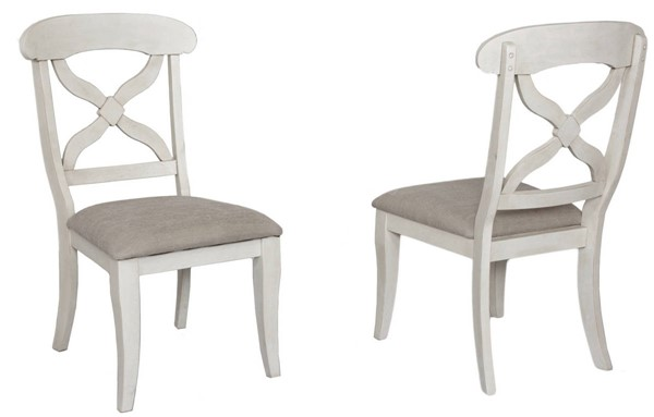2 Sunset Trading Andrews Antique White Cushions Dining Chairs SST-DLU-ADW-C12-AW-2