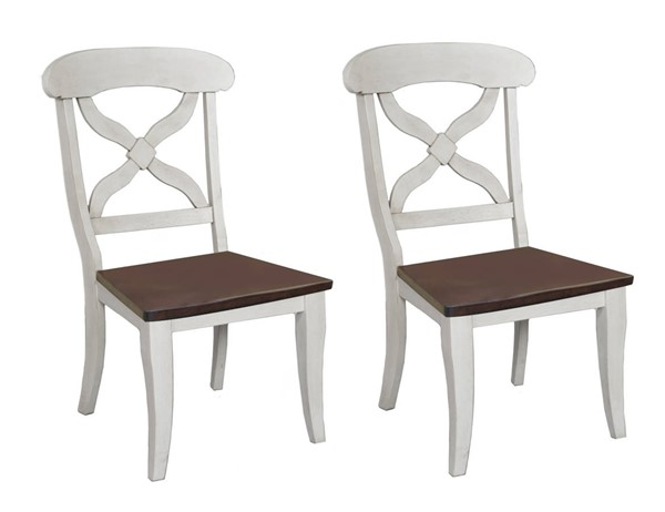 2 Sunset Trading Andrews Antique White Chestnut Dining Chairs SST-DLU-ADW-C12WD-AW-2
