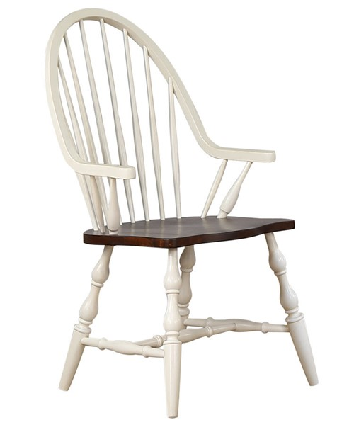 Sunset Trading Andrews Antique White Chestnut Brown Windsor Dining Arm Chair SST-DLU-ADW-C30A-AW
