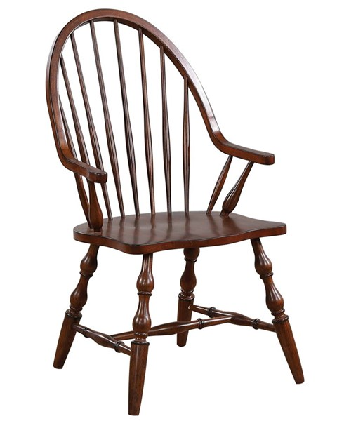 Sunset Trading Andrews Distressed Chestnut Brown Windsor Dining Arm Chair SST-DLU-ADW-C30A-CT