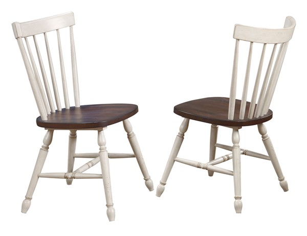 2 Sunset Trading Andrews Antique White Chestnut Brown Windsor Spindle Back Dining Chairs SST-DLU-ADW-C40-AW-2