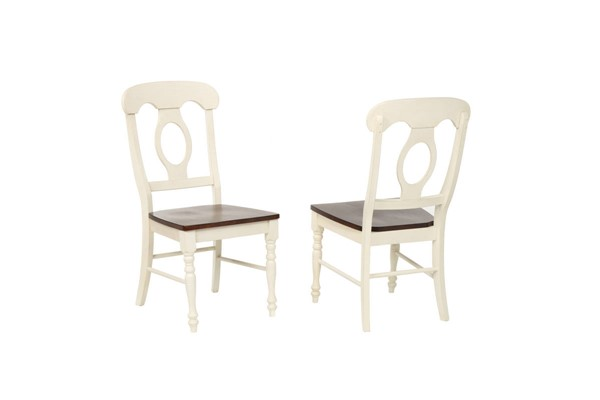 2 Sunset Trading Andrews Antique White Chestnut Napoleon Dining Chairs SST-DLU-ADW-C50-AW-2