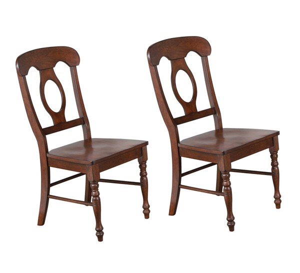 2 Sunset Trading Andrews Chestnut Napoleon Dining Chairs SST-DLU-ADW-C50-CT-2