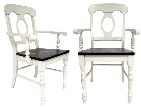 2 Sunset Trading Andrews Antique White Chestnut Napoleon Arm Chairs SST-DLU-ADW-C50A-AW-2
