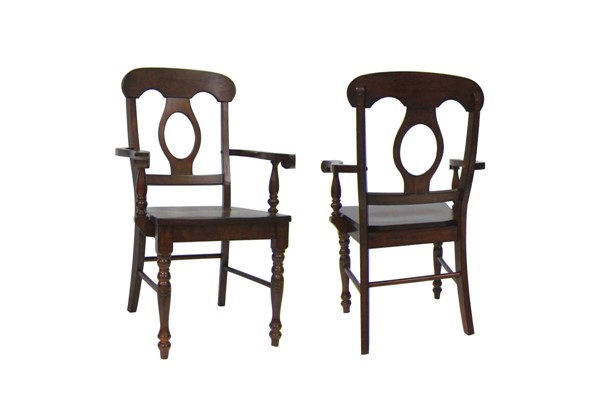 2 Sunset Trading Andrews Chestnut Napoleon Arm Chairs SST-DLU-ADW-C50A-CT-2