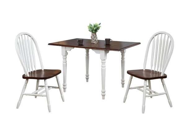 Sunset Trading Andrews Antique White Chestnut Drop Leaf 3pc Dining Set with Arrowback Chairs SST-DLU-ADW3448-820-AW3PC