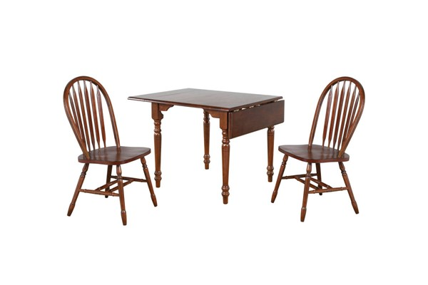 Sunset Trading Andrews Chestnut Drop Leaf 3pc Dining Set with Arrowback Chairs SST-DLU-ADW3448-820-CT3PC