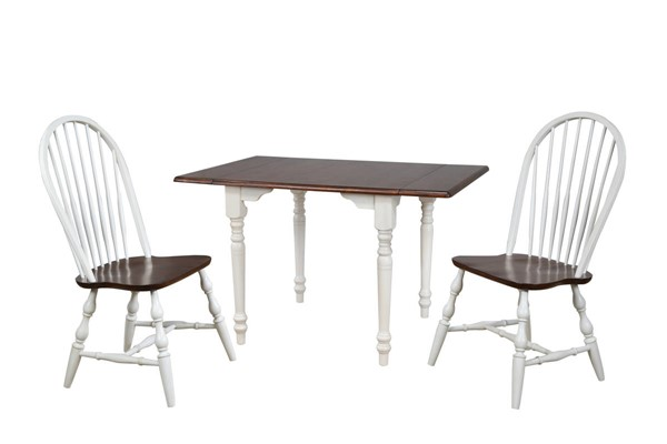 Sunset Trading Andrews Antique White Chestnut Drop Leaf 3pc Dining Sets with Spindleback Chairs SST-DLU-ADW3448-C30-3PC-VAR
