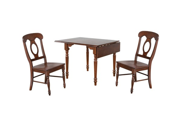 Sunset Trading Andrews Chestnut Drop Leaf 3pc Dining Set with Napoleon Chairs SST-DLU-ADW3448-C50-CT3PC