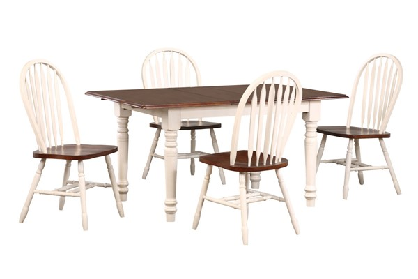 Sunset Trading Andrews Antique White Chestnut Brown 5pc Butterfly Dining Set with Arrowback Chairs SST-DLU-ADW3660-820-AW5PC
