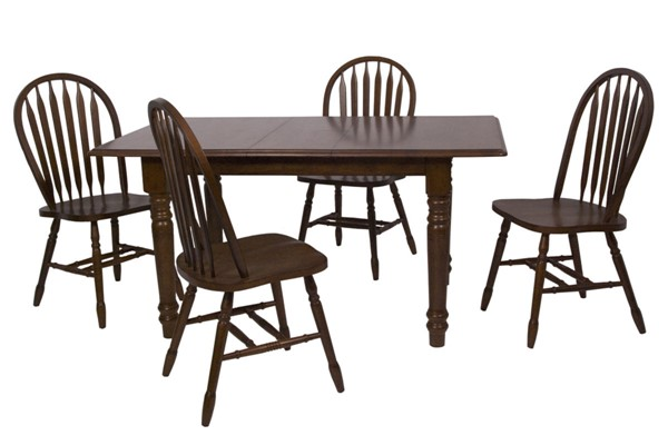 Sunset Trading Andrews Distressed Chestnut Brown 5pc Butterfly Dining Set with Arrowback Chairs SST-DLU-ADW3660-820-CT5PC