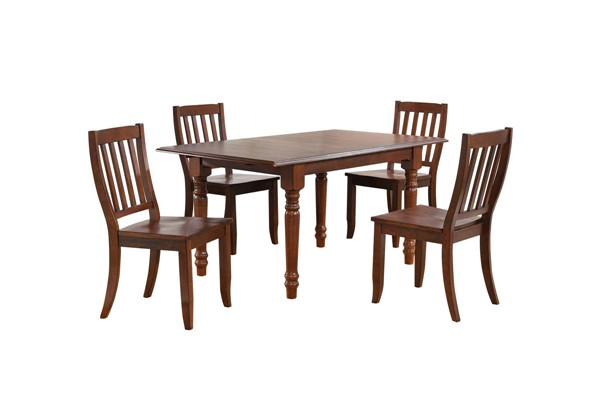 Sunset Trading Andrews Chestnut Rectangle Butterfly Leaf 5pc Dining Set SST-DLU-ADW3660-C20-CT5PC