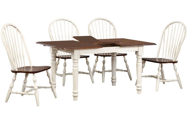 Sunset Trading Andrews Distressed Antique White Chestnut Brown 5pc Dining Set with Spindleback Chairs SST-DLU-ADW3660-C30-AW5PC