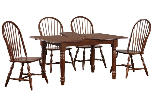 Sunset Trading Andrews Distressed Chestnut Brown 5pc Dining Set with Spindleback Chairs SST-DLU-ADW3660-C30-CT5PC