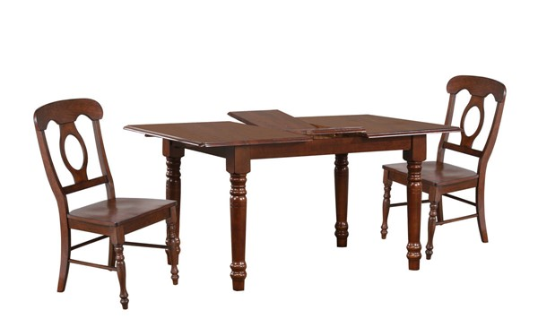 Sunset Trading Andrews Chestnut Butterfly Leaf 5pc Dining Set with Napoleon Chairs SST-DLU-ADW3660-C50-CT5PC