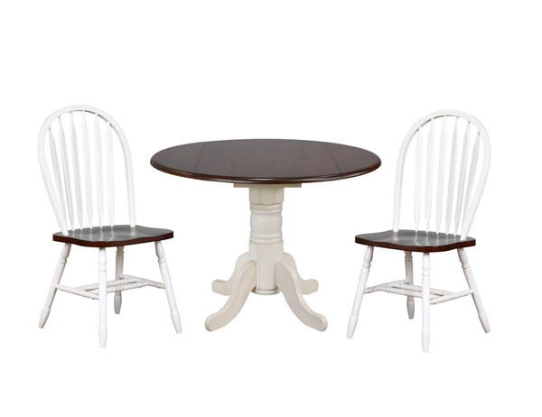 Sunset Trading Andrews Antique White Chestnut Round 3pc Dining Set with Arrowback Chairs SST-DLU-ADW4242-820-AW3PC