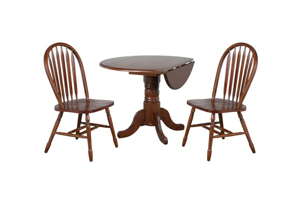 Sunset Trading Andrews Chestnut Round 3pc Dining Set with Arrowback Chairs SST-DLU-ADW4242-820-CT3PC