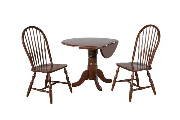 Sunset Trading Andrews Chestnut Round 3pc Dining Set with Spindleback Chairs SST-DLU-ADW4242-C30-CT3PC