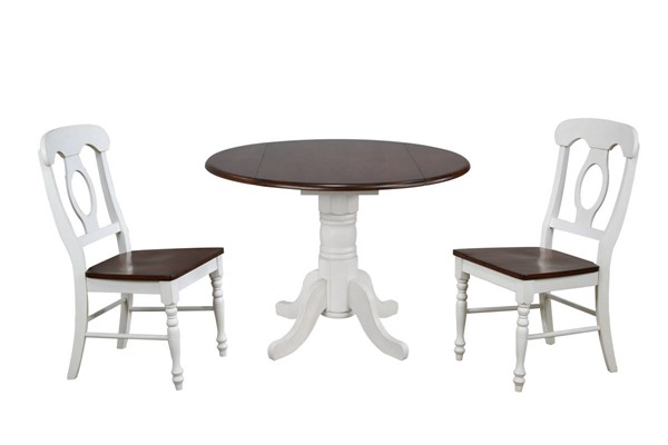 Sunset Trading Andrews Antique White Chestnut Round 3pc Dining Sets with Napoleon Chairs SST-DLU-ADW4242-C50-3PC-VAR