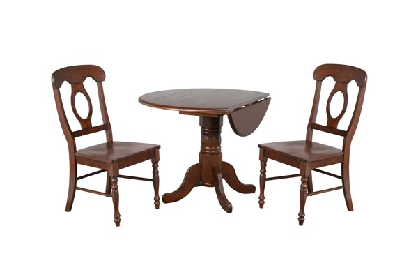 Sunset Trading Andrews Chestnut Round 3pc Dining Set with Napoleon Chairs SST-DLU-ADW4242-C50-CT3PC