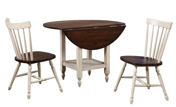 Sunset Trading Andrews Distressed Antique White Chestnut Brown Drop Leaf 3pc Dining Set SST-DLU-ADW4242S-C40AW3P