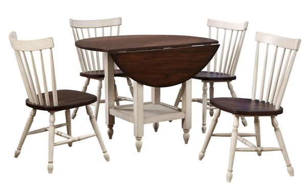 Sunset Trading Andrews Distressed Antique White Chestnut Brown Drop Leaf 5pc Dining Set SST-DLU-ADW4242S-C40AW5P