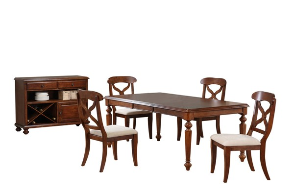 Sunset Trading Andrews Chestnut Butterfly Leaf 6pc Dining Set with Server SST-DLU-ADW4276-C12-SRCT6PC