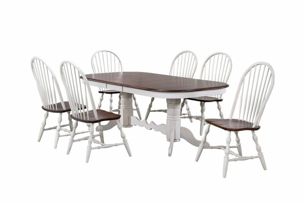Sunset Trading Andrews Antique White Chestnut Double Pedestal Extendable 7pc Dining Set SST-DLU-ADW4296-C30-AW7PC
